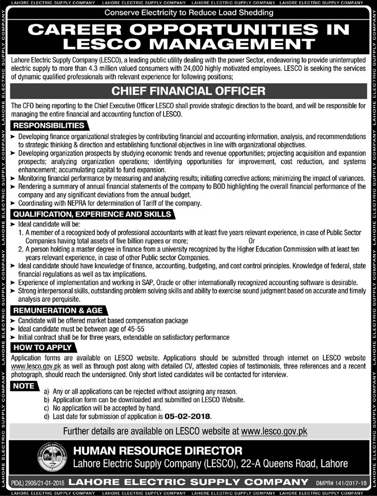 Lahore Electric Supply Company LESCO Jobs 2018 For CFO https://www.jobsfanda.com/lahore-electric-supply-company-lesco-jobs-2018-cfo/
