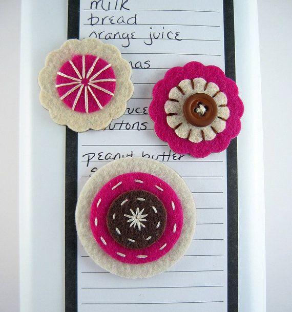 Felt magnets  felt flower set cute fridge by lillybugboutique, $10.00