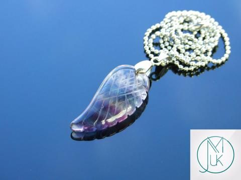 Multi Fluorite Gemstone Angel Wing Pendant Necklace
