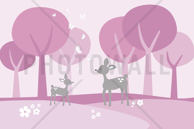 Deer in Woods - Pink - Fototapeter