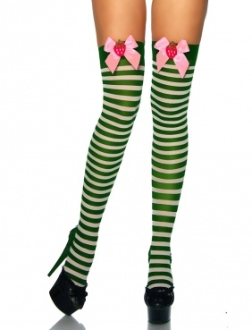 Green stripe over-knee socks with pink strawberry bows - Alice