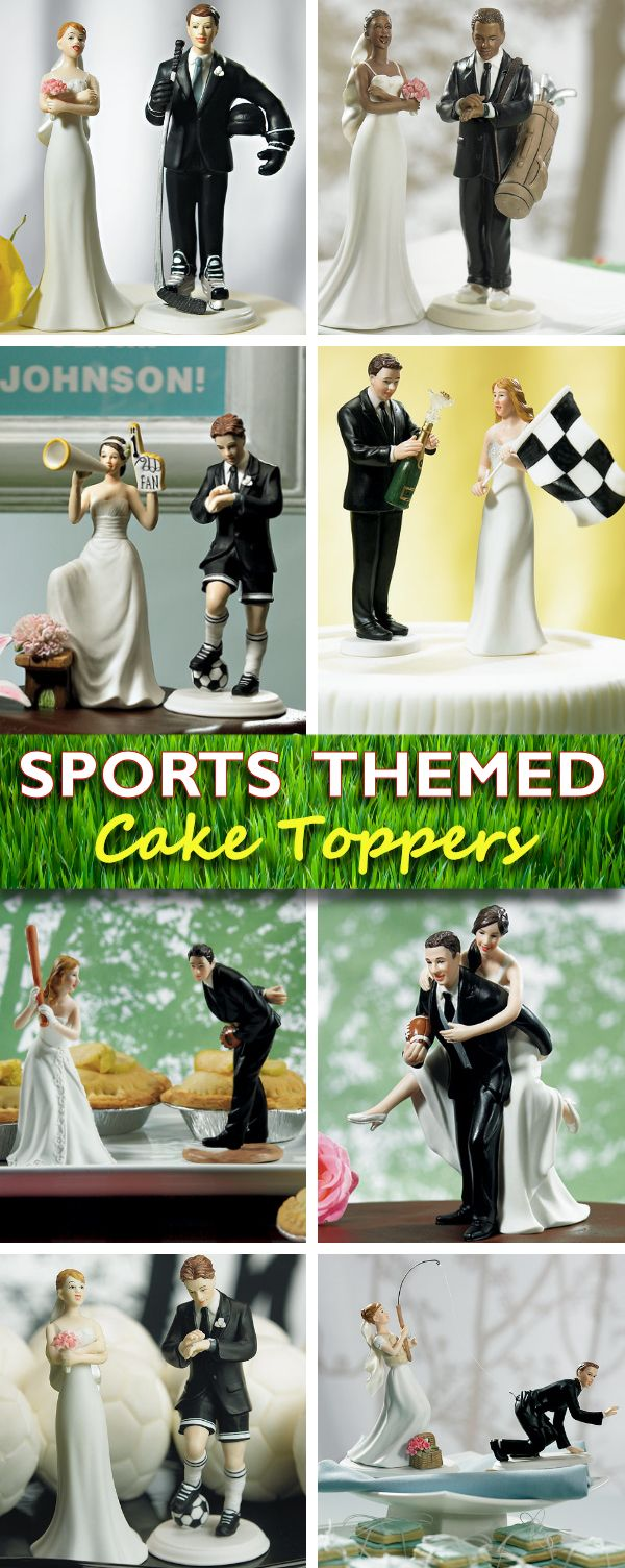 Sports Themed Wedding Cake Toppers - your guests will be laughing when they see these whimsical figurines :)