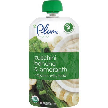 Plum Organics Zucchini Banana & Amaranth Organic Baby Food Yum 2 6 Months & Up 3.5 oz, Multicolor