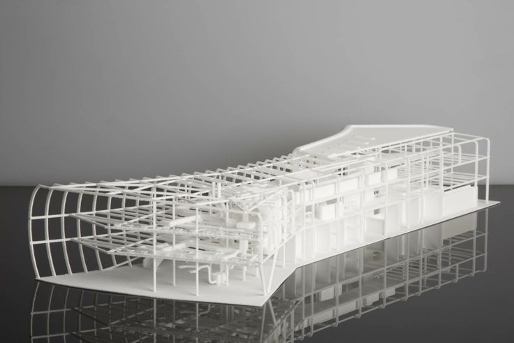 3d printed architectural model of the curve building for Architecture house models