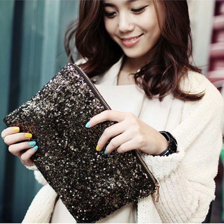 sacos de mulheres mensageiro New mulheres carteira Fashion Style faísca lantejoula sacos de embreagem da noite das senhoras bolsa 3.49