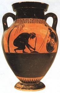 Exekias pinta en esta ánfora de figuras negras a Ayax, clavando su espada en tierra, preparando su suicidio.