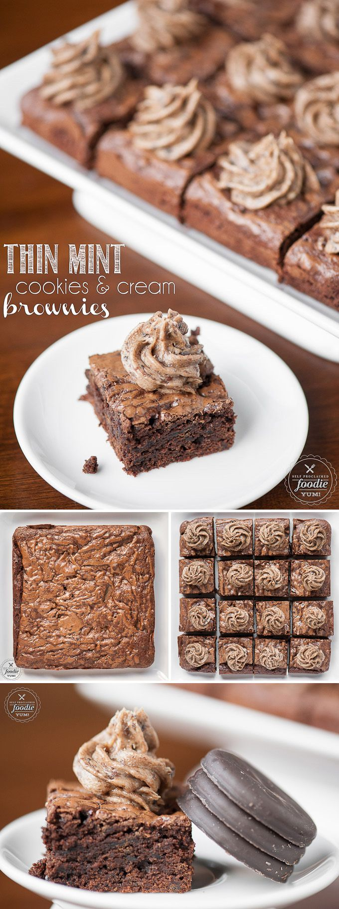 Take your love of Girl Scout Cookies to the next level by transforming them into Thin Mint Cookies & Cream Brownies, also known as the ultimate dessert.
