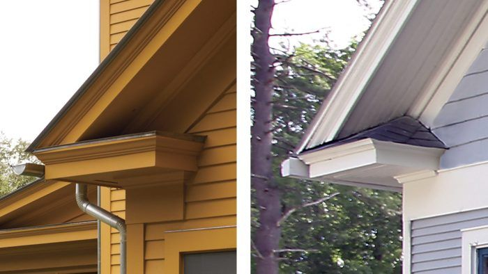 Two Styles Of Cornice Return Fine Homebuilding In 2020 Roof Styles Building A House Residential Steel Roofing