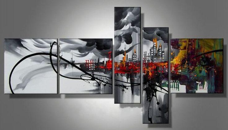 Pinturas de gran pieza 5 moderno abstracto pintura al leo - Pinturas para cocina ...