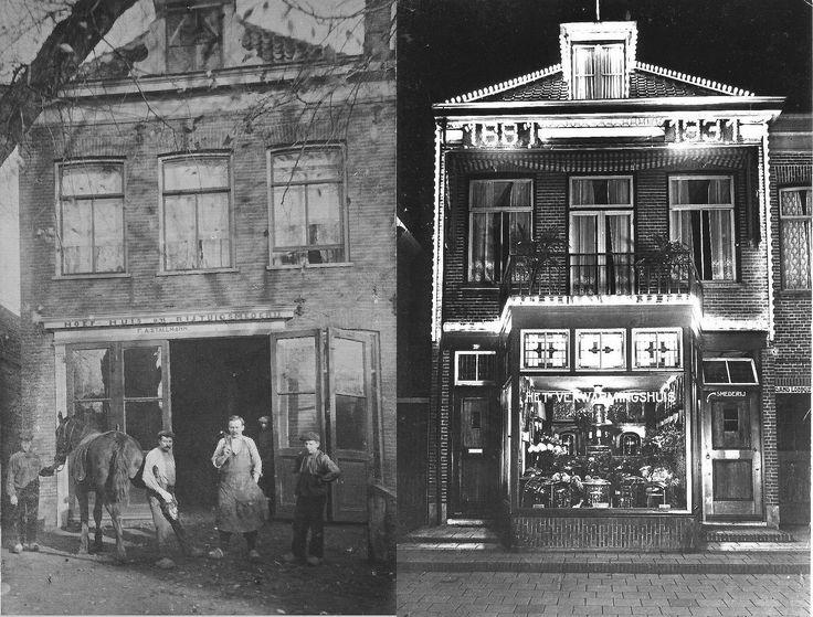 Bussum 1930 (rechts) De oude smederij van Stallmann aan de Landstraat, nu geheel verbouwd, bij het 50-jarig bestaan.