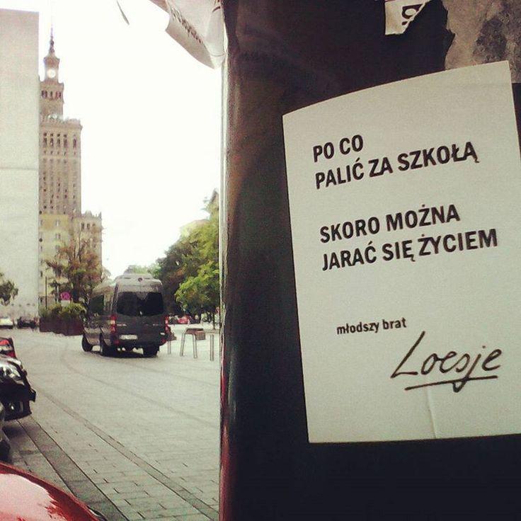 Dziś Loesje dla tych, których martwi nieuchronnie zbliżający się koniec weekendu. ;) #loesje #loesjepl #loesje_pl #loesjepoland #loesjepolska #luszje #palenie #paleniezabija #papierosy #szkoła #szkola #wlepka #vlepka #streetsofwarsaw #igerswarsaw #placgrzybowski  #warszawa