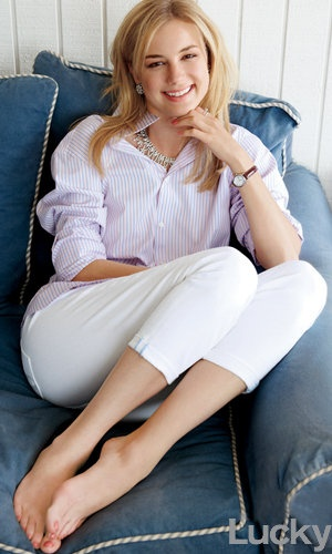 striped shirt and white cropped denim