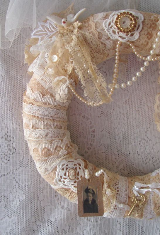Nanas Lace Wreath Vintage Tattered Lace Wreath by treasured2: