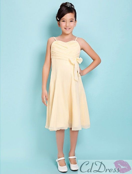Very cute! Lovely A-line Spaghetti Straps Knee-length Chiffon Junior Bridesmaid Dress - Junior Bridesmaid Dresses - Wedding Party Dresses - CDdress.com