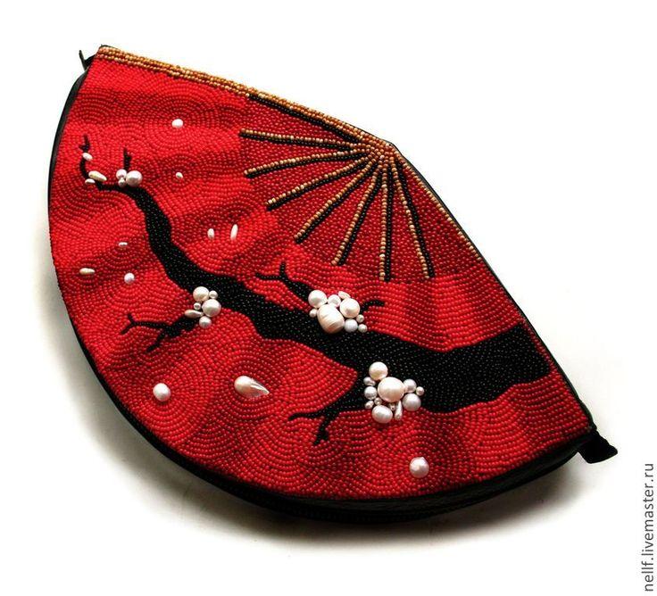 """Купить Клатч """"Веер"""" большой - ярко-красный, рисунок, клатч, Вышивка бисером, вышитая бисером сумка"""