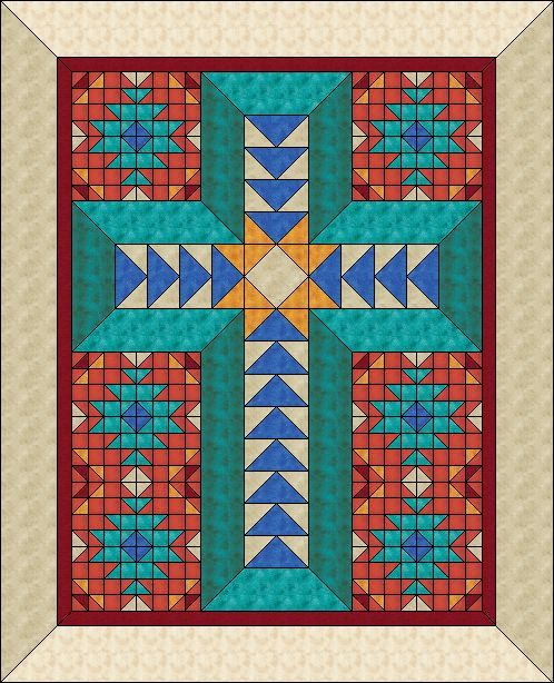 I adore the Southwestern colors and I wanted to create a cross with 3D effect to show off the Cross on a beautiful SW background design.    The