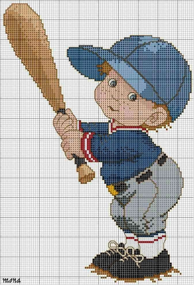 Point de croix -cross stitch ❤️✼❤️✼BASEBALL