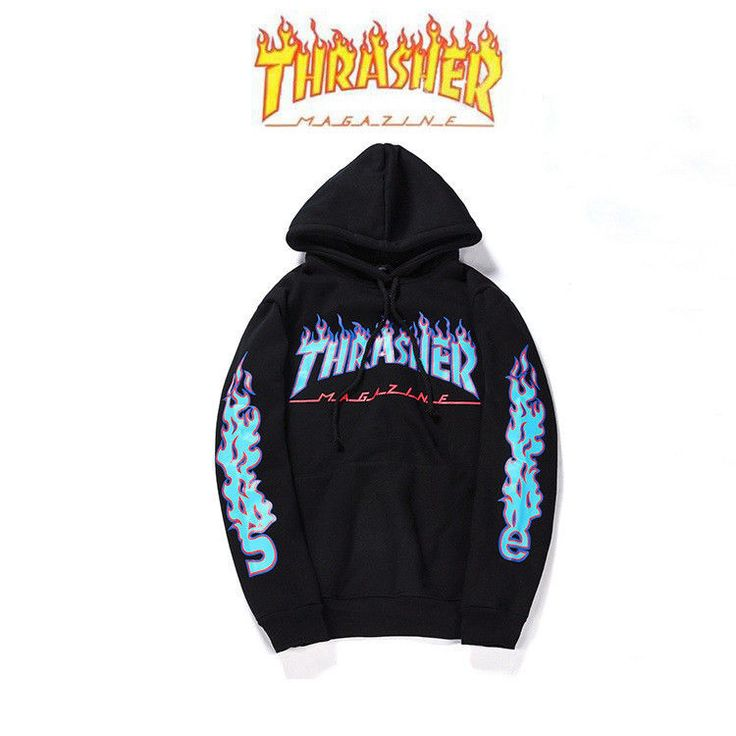 2017 Unisex Hip-hop skateboard Fleece hoodie Flame Thrasher Sweatshirts