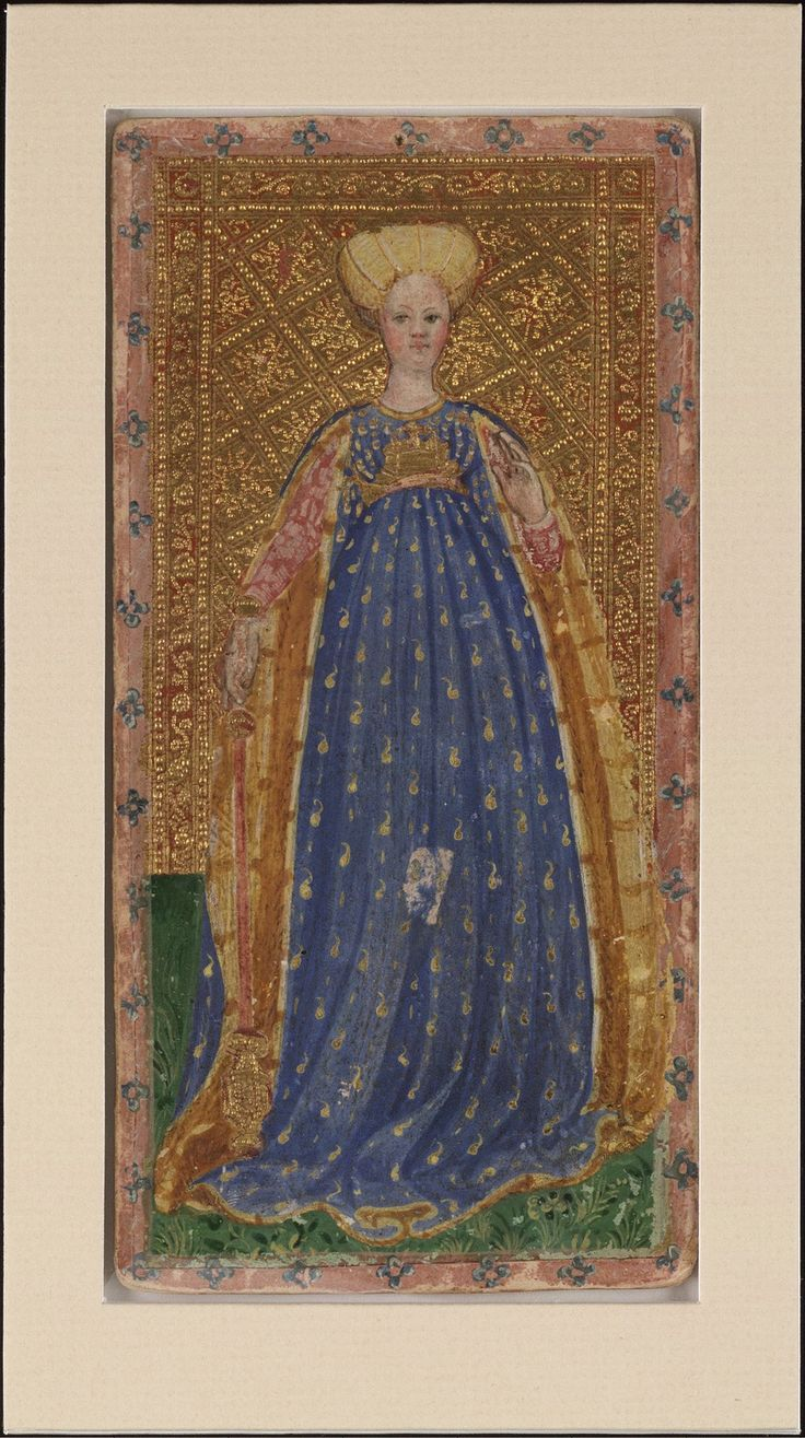 Visconti Tarot, 1428-1447; From: Cary Collection of Playing Cards; [Creator:Bembo, Bonifacio, fl. 1447-1478, d. bef. 1482], 1 card, 19x9 cm