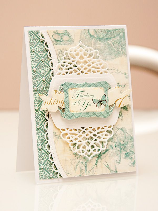 A Thinking of You card using dies from #Spellbinders and papers from #Graphic45 #BotanicalTea Collections. Spellbinders dies used: A2 Tranquil Moments S5-216, Curved Borders Two S5-201, Ribbon Banners S4-324, Outrageous Butterfly S2-069.   Please visit my blog at http://www.zrobysama.com.ua/?p=43765 for more photos and video tutorial.