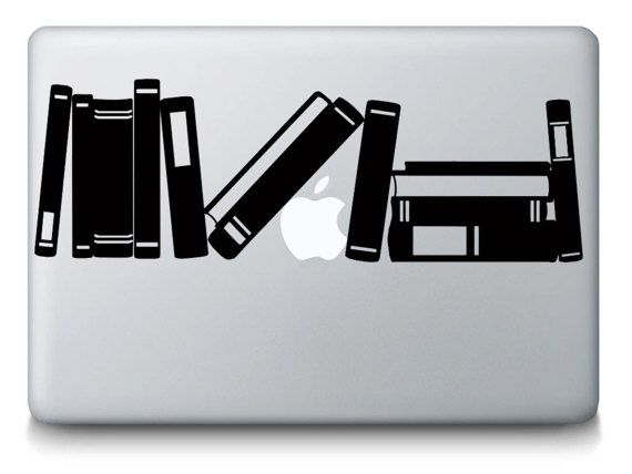 Books on bookshelf macbook decal reading love read literature writing art mac macbook laptop vinyl decal sticker