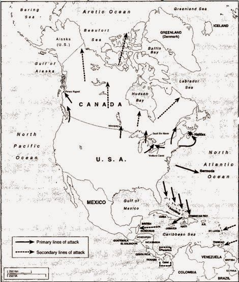 Following the 1927 Geneva Naval Conference, the US Army — evidently bored with the peace and prosperity of the 1920s — decided to draw up plans for a hypothetical war between the United States and the British Empire. The document that resulted from this exercise, War Plan Red, was approved by the War Department in 1930 and not declassified until the 1970s.