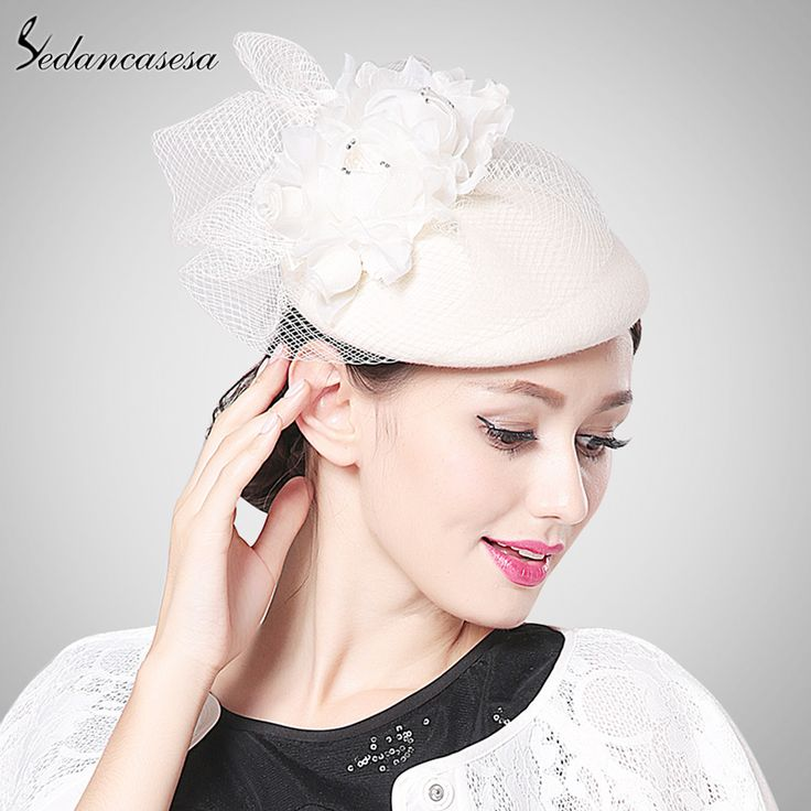 Fashion Autumn Winter Elegant Female Woman Lady Impotred Wool Fascinator Hats With Veil German Headgear Bridal Hat Like and share! #shop #beauty #Woman's fashion #Products #Hat