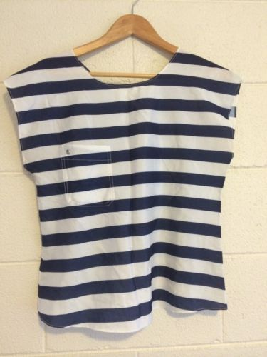 Junk Brand S Nautical Blue + White Stripe Crop Cross Back Batwing Top