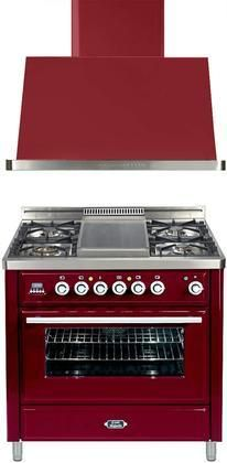 """2-Piece Burgundy Kitchen Package with UMT90FDVGGRB 36"""" Freestanding Gas Range (4 Burners Griddle Timer) and UAM90RB 36"""" Wall Mount Range Hood"""