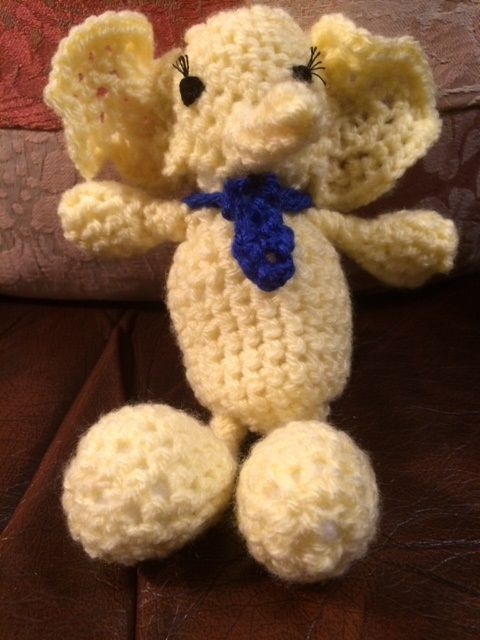 Mr Elephant, complete with real Windsor-knotted tie. It's an Arigurmi little bigfoot pattern.