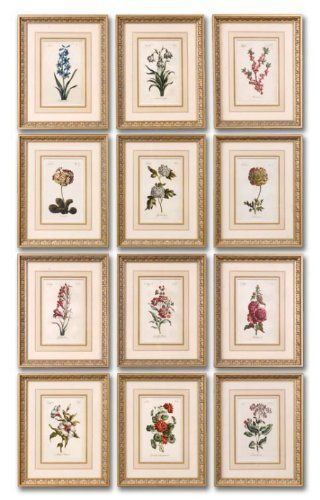 12 Framed Florals by Gordon Companies, Inc. $522.00. This product may be prohibited inbound shipment to your destination.. Brand Name: Gordon Companies, Inc Mfg#: 30721061. Please refer to SKU# ATR26168829 when you inquire.. Shipping Weight: 45.00 lbs. Picture may wrongfully represent. Please read title and description thoroughly.. 12 Framed Florals/prints over faux mats/gold leaf frames with gray glaze/18''H x 14''W x 1''D/made of gesso and wood/you get all 12 as shown