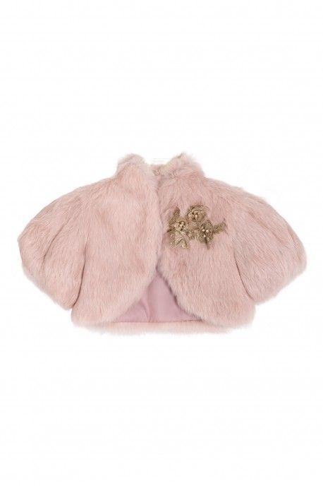 Fur bolero with precious gold embroidery