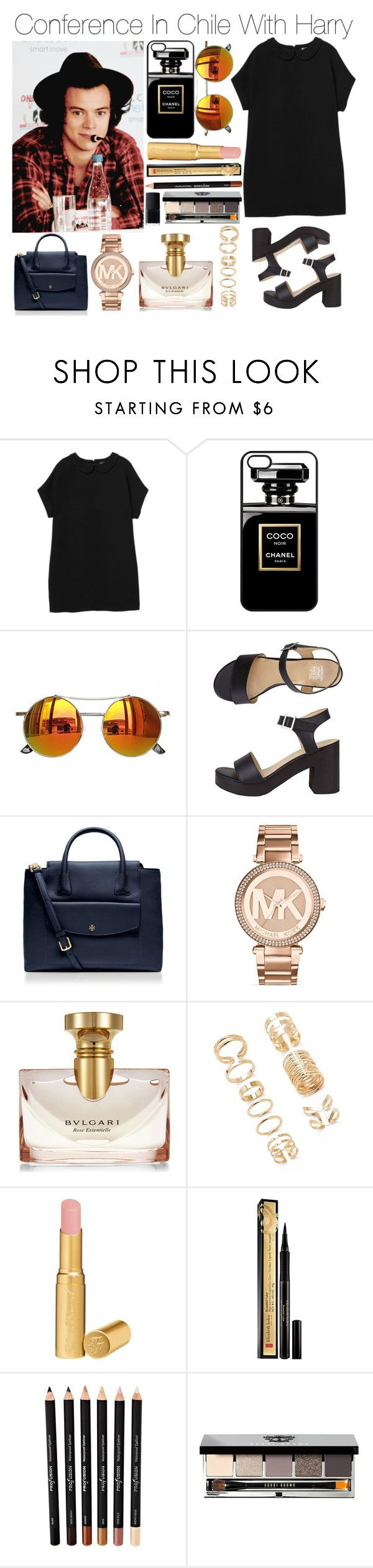 """Conference In Chile With Harry"" by lovingharryandjustin ❤ liked on Polyvore featuring Monki, Chicnova Fashion, American Apparel, Tory Burch, Michael Kors, Bulgari, Forever 21, Too Faced Cosmetics, Elizabeth Arden and Bobbi Brown Cosmetics"