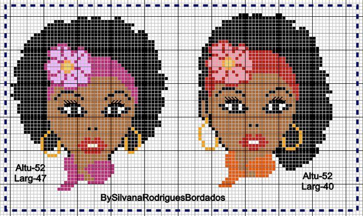 Cantinho da Artes: Meninas negras Ponto cruz