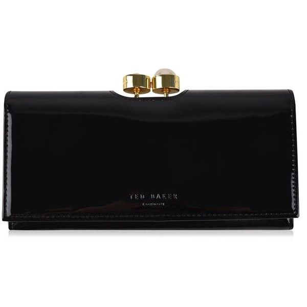 Ted Baker Cecilie Purse (€94) ❤ liked on Polyvore featuring bags, wallets, black, coin wallet, coin bag, zip around wallet, patent bag and ted baker