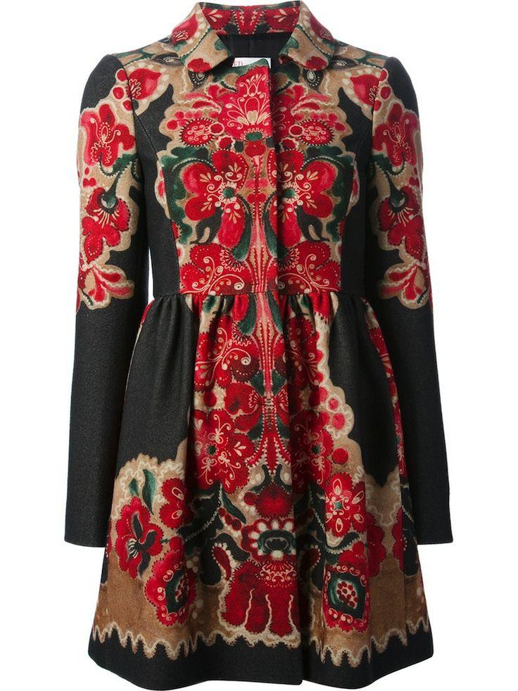 Multicolor Floral Print Faille Coat