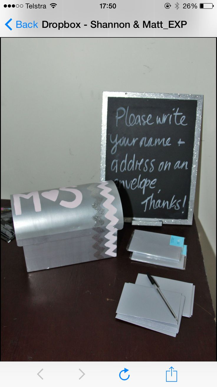 Letter box painted and used for people to write their address on envelops for wedding invitations later on