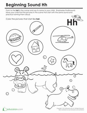Preschool Phonics Letter H Worksheets: Beginning Sounds Coloring: Sounds Like Hat