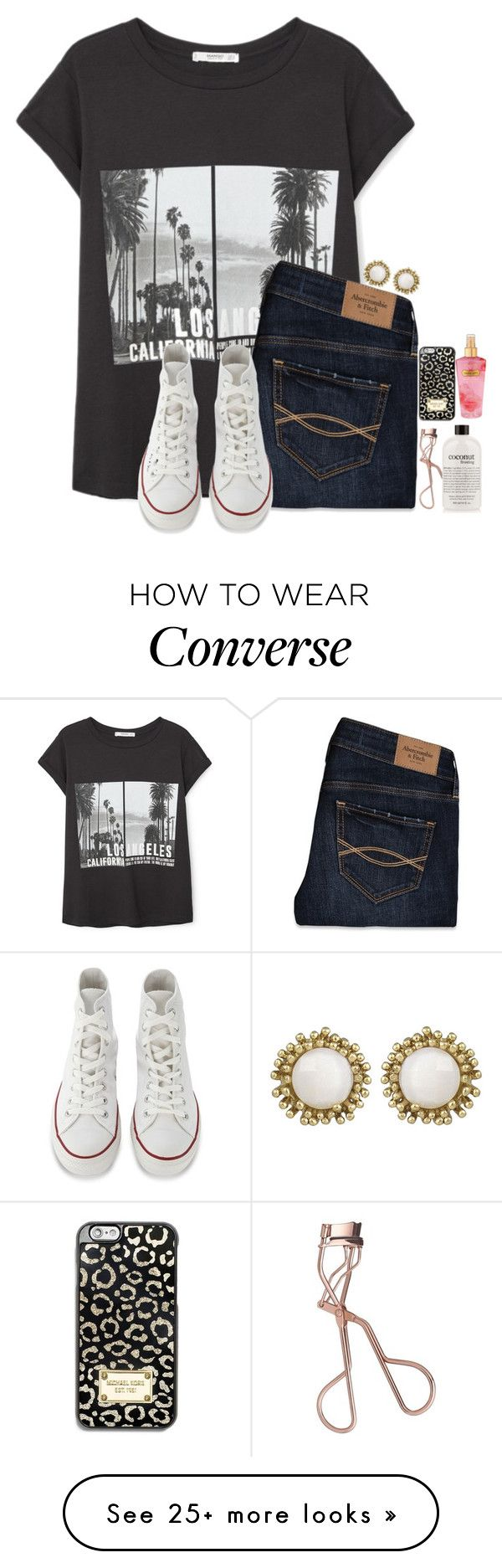 Im not a shopaholic, Im helping the economy by hailstails on Polyvore featuring MANGO, Abercrombie Fitch, Converse, Charlotte Tilbury, philosophy, Kendra Scott, MICHAEL Michael Kors and Victorias Secret