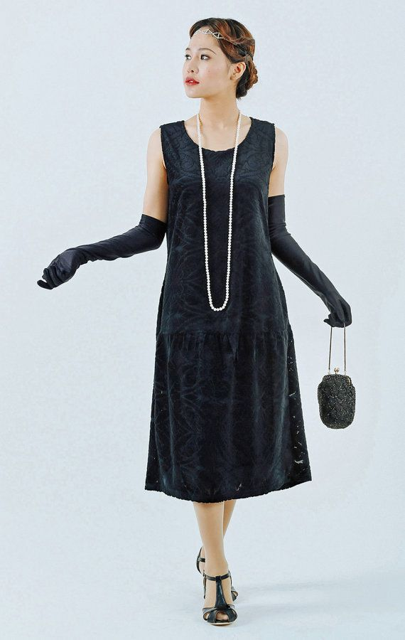 Black dress long sleeve 1920s