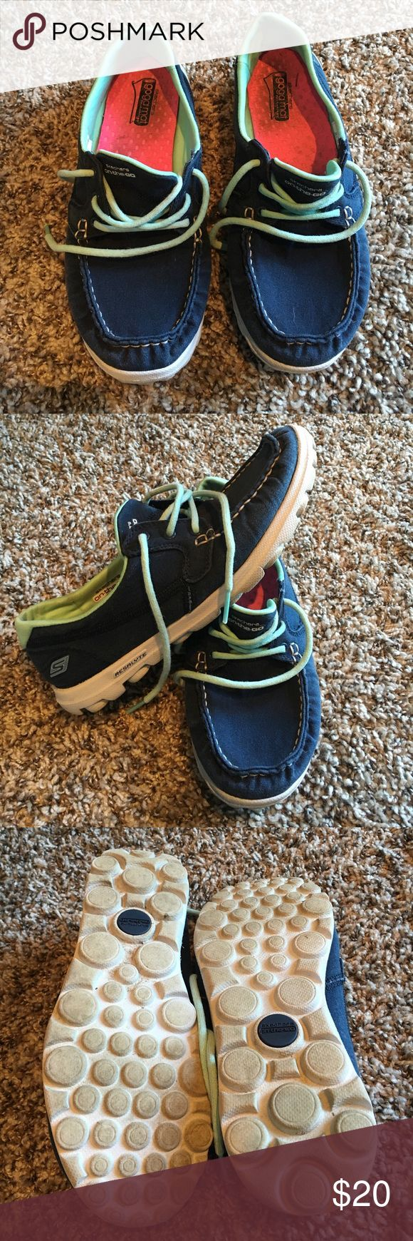 Skechers on the go goga mat shoes Gently worn, great condition! Only worn a handful of times, show no wear on bottoms or on soles. Just some staining on the inside heels, they have been washed well. Skechers Shoes Sneakers