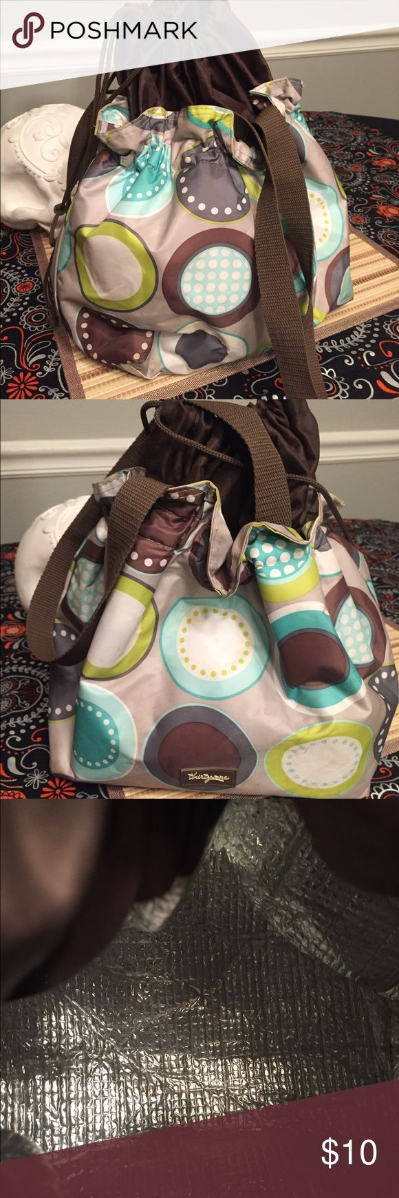 """Thirty-one Cinch It Up Thermal Lunch Tote Thirty One Lunch Bag in Minty Chip Pattern. Apx 10.5""""H x 9.5""""W x 5.25""""D. 31 Thirty One Bags Totes"""