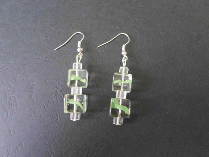Glass earrings. Dangle glass earrings. White / green earrings. Square earrings. by SiDaStyle on Etsy