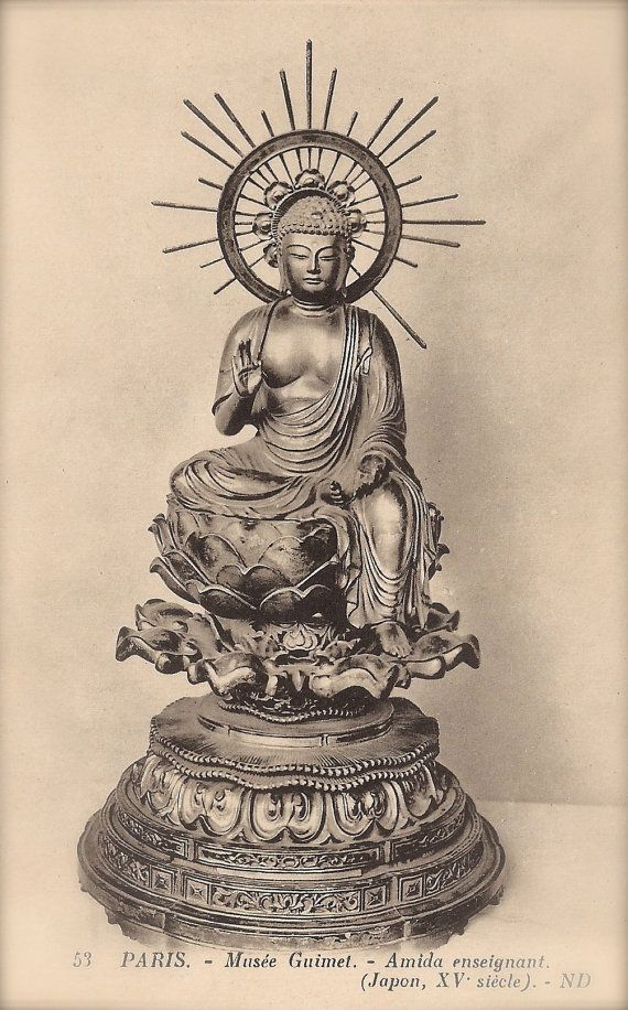 Celestial Amida Buddha of Infinite Light Mahayana Buddhism Ancient Japanese Sculpture at The Guimet Museum in Paris, Original 1900s Postcard