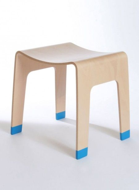 Curve Line stool by Alex MacDonald for the Collection Editions  The Curve Line stool on beech bent plywood is a beautiful, simple stool.  #thecollection