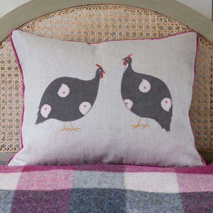 Guinea Fowl Pair  Bird Cushion