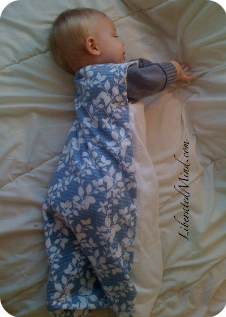make a baby sleep sack. no pattern but trace current clothing. 2 yds flannel. For my acrobatic sleeper...    gonna make this for my coming-soon cousin :)