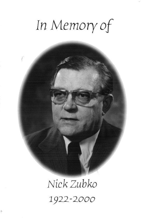 Memorial Booklet, N.J. Zubko, 1932-2000