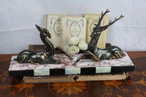 XL-ART-DECO-1930-spelter-bronze-group-deer-Statue-marble-base-hunting
