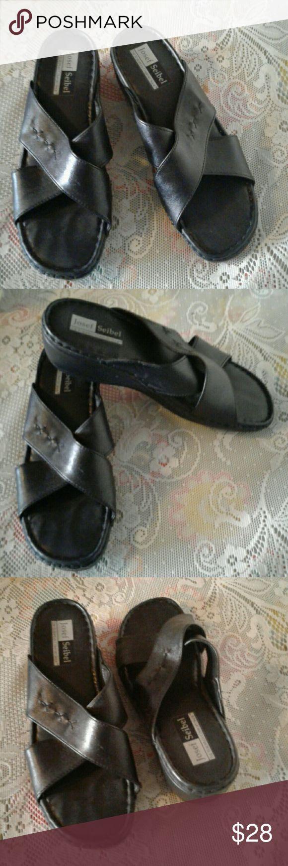 European sandals shoes - Josef Seibel Black Leather Criss Cross Mules Sz 40 The European Comfort Shoe Features Decorative